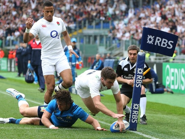 George Ford goes over during the Six Nations game between Italy and England on February 14, 2016