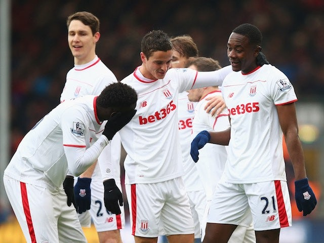 Giannelli Imbula celebrates scoring during the Premier League game between Bournemouth and Stoke City on February 13, 2016