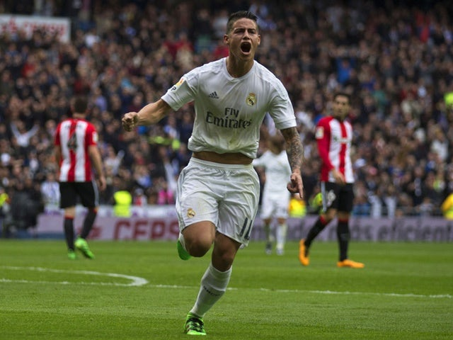 James Rodriguez of Real Madrid celebrates scoring their second goal against Athletic Bilbao on February 13, 2016