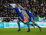 Leicester City duo Jamie Vardy and Riyad Mahrez celebrate during a Premier League game on November 21, 2015