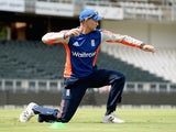 Joe Root strikes a pose during an England training session on February 11, 2016