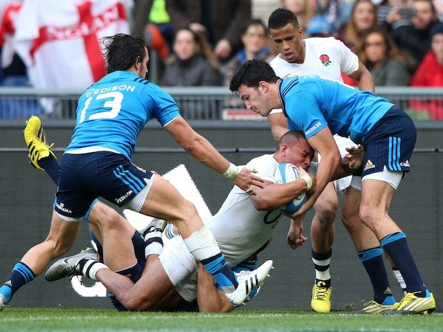 Jonathan Joseph goes over for his hat-trick during the Six Nations game between Italy and England on February 14, 2016