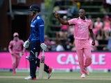 Kagiso Rabada celebrates dismissing Jason Roy during the fourth ODI between South Africa and England on February 12, 2016