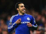 Pedro is pleased with himself after scoring during the Premier League game between Chelsea and Newcastle United on February 13, 2016
