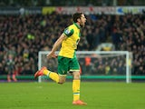 Robbie Brady of Norwich City celebrates scoring his team's first goal against West Ham United on February 13