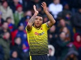 Troy Deeney celebrates scoring during the Premier League game between Crystal Palace and Watford on February 13, 2016