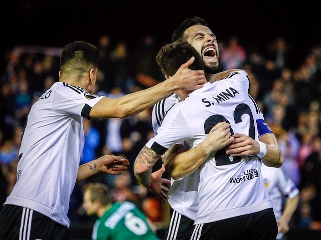 Alvaro Negredo celebrates during the Europa League game between Valencia and Rapid Vienna on February 18, 2016