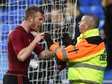 Chris Brunt turns on a steward during the FA Cup game between Reading and West Bromwich Albion on February 20, 2016