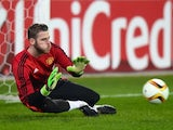 David de Gea embarks upon an ill-fated warm-up before the Europa League game between FC Midtjylland and Manchester United on February 18, 2016