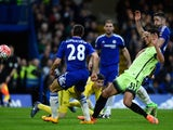 David Faupala scores an equaliser during the FA Cup game between Chelsea and Manchester City on February 20, 2016