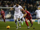 Emilio Nsue and Mirco Antenucci during the Championship game between Leeds United and Middlesbrough on February 15, 2016