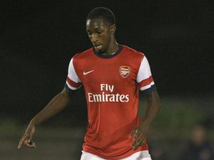 Glen Kamara in action during the UEFA Youth League match between Arsenal U19 and Borussia Dortmund U19 at Meadow Park on October 23, 2013