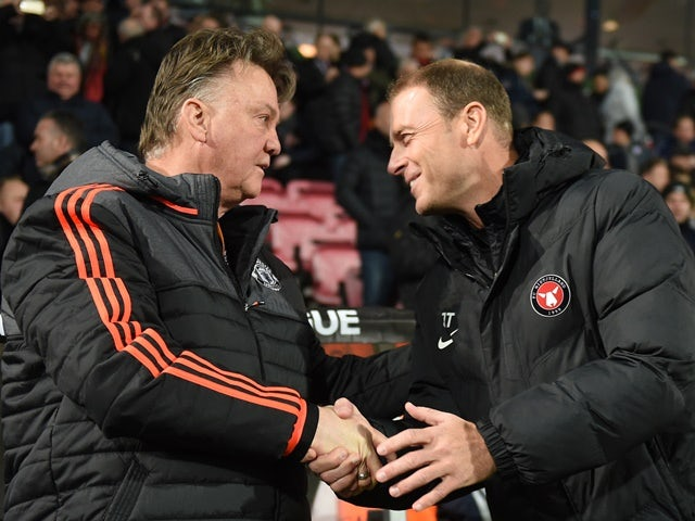 Louis van Gaal and Jess Thorup prior to the Europa League round-of-32 first leg between FC Midtjylland and Manchester United on February 18, 2016