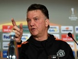 Louis van Gaal points his wife's favourite finger at a journalist on February 17, 2016