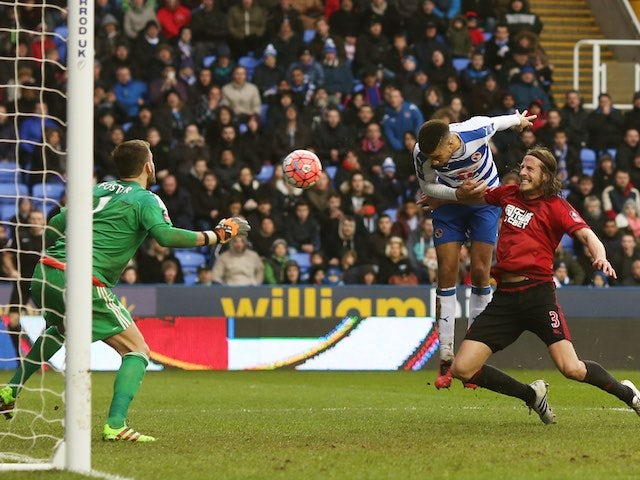 Michael Hector scores during the FA Cup game between Reading and West Bromwich Albion on February 20, 2016