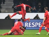 Paul Onuachu celebrates during the Europa League game between FC Midjtylland and Manchester United on February 18, 2016