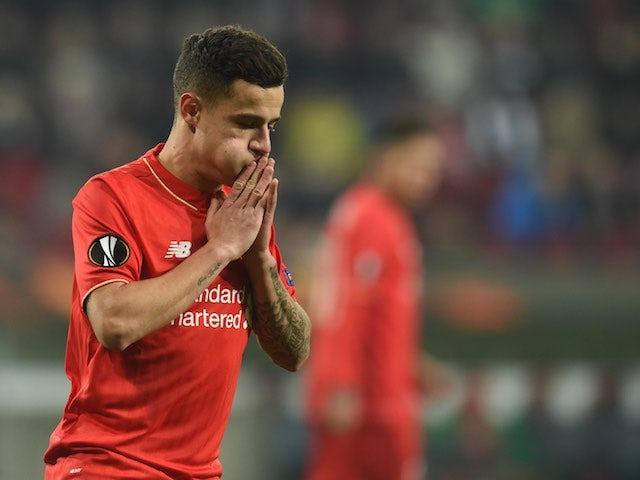 Philippe Coutinho reacts to a missed chance during the Europa League game between Augsburg and Liverpool on February 18, 2016
