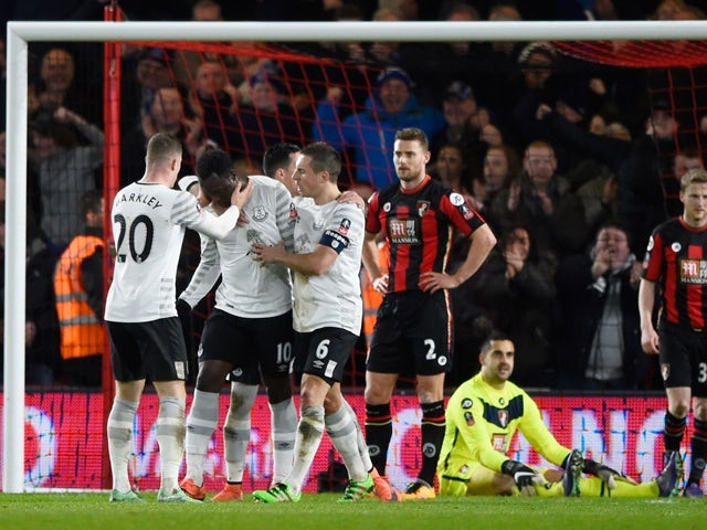Romelu Lukaku celebrates scoring Everton's second goal in the FA Cup fifth-round match against Bournemouth on February 20, 2016