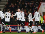 Ross Barkley celebrates scoring during the FA Cup fifth-round match between Bournemouth and Everton on February 20, 2016