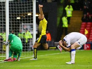 Alternative shot: Scott Wootton scores an own goal during the FA Cup game between Watford and Leeds United on February 20, 2016