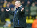 Steve Evans shrugs during the FA Cup game between Watford and Leeds United on February 20, 2016