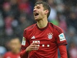 Thomas Muller celebrates scoring during the Bundesliga game between Bayern Munich and Darmstadt on February 20, 2016