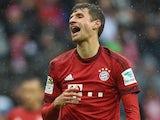 Thomas Muller celebrates scoring during the Bundesliga game between Bayern Munich and Darmstadt on February 20, 2016