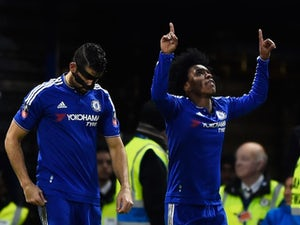 Willian celebrates scoring during the FA Cup game between Chelsea and Manchester City on February 20, 2016