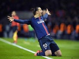 Zlatan Ibrahimovic celebrates scoring during the Champions League encounter between Paris Saint-Germain and Chelsea on February 16, 2016