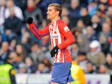 Antoine Griezmann celebrates scoring during the La Liga game between Real Madrid and Atletico Madrid on February 27, 2016