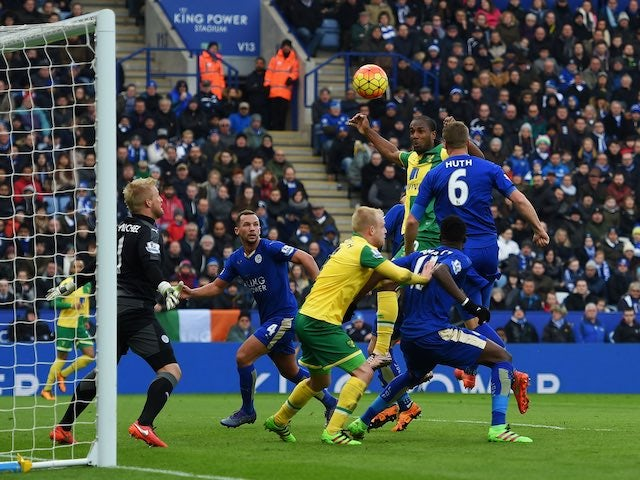 Cameron Jerome makes an attempt during the Premier League game between Leicester City and Norwich City on February 27, 2016