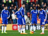 Chelsea players look downbeat after Shane Long scores during the Premier League game between Southampton and Chelsea on February 27, 2016