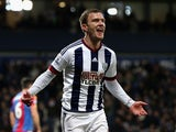 Craig Gardner of West Bromwich Albion celebrates scoring against Crystal Palace at The Hawthorns on February 27, 2016