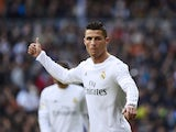 Cristiano Ronaldo sticks a thumb up during the La Liga game between Real Madrid and Atletico Madrid on February 27, 2016