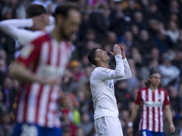 Cristiano Ronaldo moans to the heavens as he fails to poke it in during the La Liga game between Real Madrid and Atletico Madrid on February 27, 2016