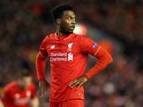 Daniel Sturridge looks on during the Europa League game between Liverpool and Augsburg on February 25, 2016