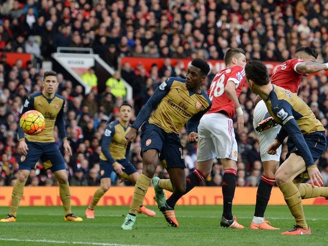 Danny Welbeck scores during the Premier League game between Manchester United and Arsenal on February 28, 2016