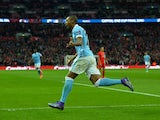 Fernandinho celebrates scoring during the League Cup final between Liverpool and Manchester City on February 28, 2016