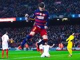 Man mountain Gerard Pique celebrates scoring during the La Liga game between Barcelona and Sevilla on February 28, 2016