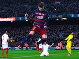Man mountain Gerard Pique celebrates scoring during the La Liga game between Barcelona and Sevilla on February 28, 2016