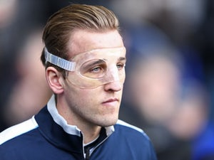 Harry 'big schnoz' Kane sports a protective face mask during the Premier League game between Tottenham Hotspur and Swansea City on February 28, 2016