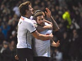 Jacob Butterfield of Derby County celebrates after scoring against Blackburn Rovers in the Championship on February 24, 2016