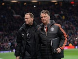 Jess Thorup and Louis van Gaal prior to the Europa League game between Manchester United and FC Midtjylland on February 25, 2016