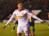 Jesse Lingard celebrates scoring during the FA Cup game between Shrewsbury Town and Manchester United on February 22, 2016