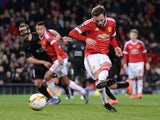 Juan Mata fails to score a penalty during the Europa League game between Manchester United and FC Midtjylland on February 25, 2016