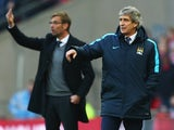 Jurgen Klopp and Manuel Pellegrini during the League Cup final between Liverpool and Manchester City on February 28, 2016