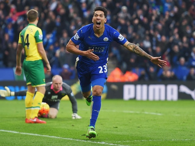 Leonardo Ulloa celebrates finding the winner during the Premier League game between Leicester City and Norwich City on February 27, 2016