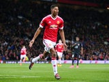 Marcus Rashford celebrates scoring during the Europa League game between Manchester United and FC Midtjylland on February 25, 2016