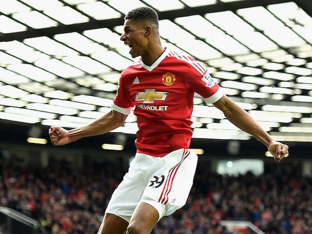 Marcus Rashford celebrates scoring during the Premier League game between Manchester United and Arsenal on February 28, 2016