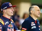 Max Verstappen and Franz Tost in the pit lane during previews for the Abu Dhabi Grand Prix on November 26, 2015